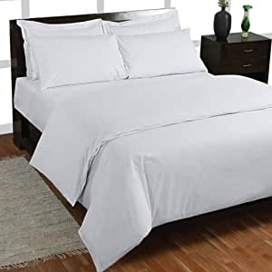 400 hilos 4 piezas Juego de sábanas (blanco sólido, Reino Unido King Size150 X 200 cm (5 ft x 6 ft 6 in), Pocket size42 cm) 100% algodón egipcio Premium calidad: Amazon.es: Hogar