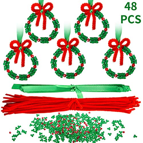 Easy Diy Christmas Ornaments (48 Pieces Christmas Beaded Ornament Kit Christmas DIY Bead Christmas Tree Hanging Decorations for Xmas Party Craft Wreath Holiday Tree)