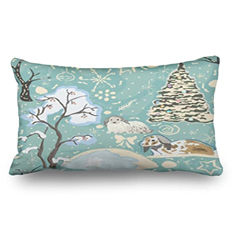 Cuscini Invernali.Lolyeah Throw Pillow Covers Winter Seamless Bunnies Spruce Trees