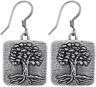 product image for DANFORTH - Tree of Life Pewter Earrings - Handcrafted - 7/8 Inch - Surgical Steel Wires