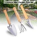 Crenova Mini Garden Tool Set, 3 Piece Stainless Steel Heavy Duty Gardening Kit with Solid Wood Non-Slip Handle, 2 Trowels + 1 Rake, Garden Gifts for Men & Women