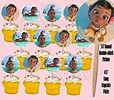 Baby Moana Hawaiian Disney Movie Double-Sided Cupcake Picks Cake Toppers -12 pcs