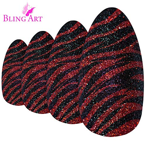False Nails Bling Art Almond Fake Stiletto Red Black Glitter 24 Long Tips -