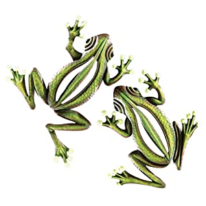 Collections Etc Glow in The Dark Hanging Frogs Wall Fence Tree Decor - Set of 2, Green