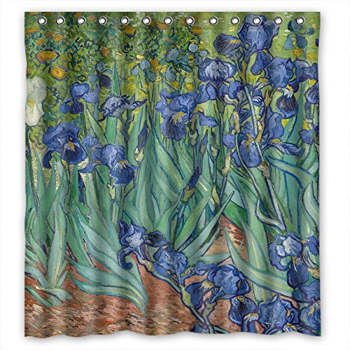 ZEEZON Width X Height / 66 X 72 Inches / W H 168 By 180 Cm Polyester Art Painting Vincent Willem Van Gogh Irises 1889 Christmas Shower Drape Fabric Is Fit For Girls Teens Custom Girls. Modern Desi (Necklace Fabric Jasper)