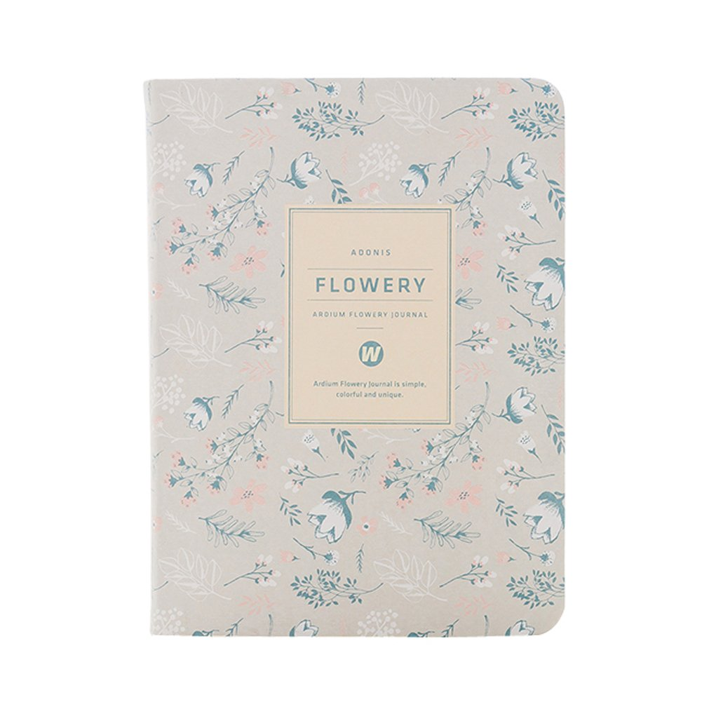 A6 Kawaii Floral Fresh Flower Notebook Yearly Monthly Weekly Planner Agenda School Office Supplies Cute Stationery Diary Book for Girl (White)