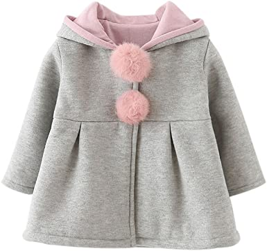 Soly.us Baby Girls Fleece Jackets Polka Dot Print Button Up Winter Warm Coats Outerwear