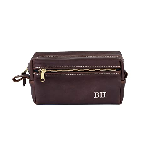 2fba85a6d23d Amazon.com  Double Zipper Leather Dopp Kit