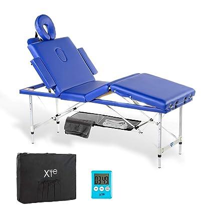 Lettino Portatile Per Massaggio.Lettino Da Massaggio 4 Zone Alluminio Portatile Confort Cuscino 8 Cm Blu