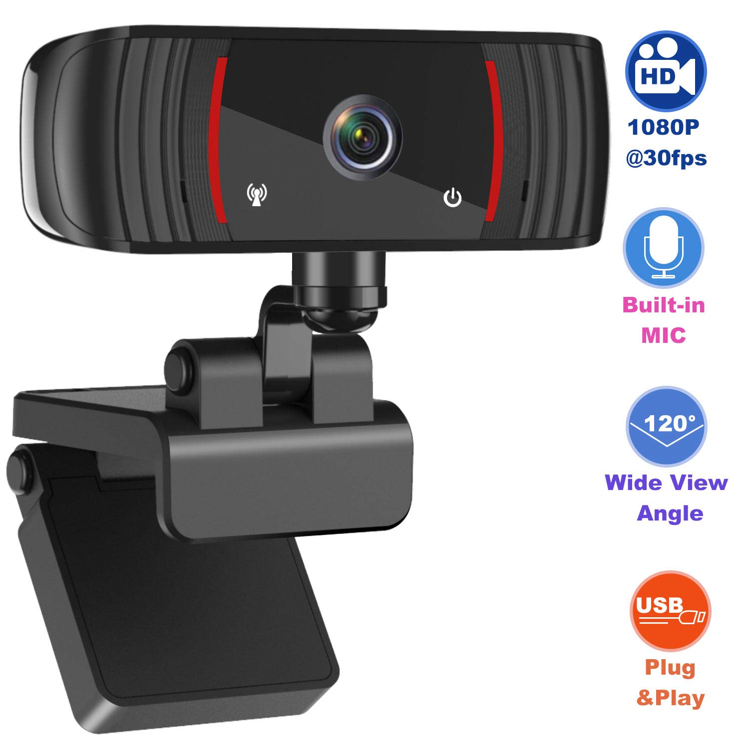 1080P Webcam with Microphone, Web Cam USB Camera, Computer HD Streaming Webcam for PC Desktop & Laptop w/Mic, Wide Angle…