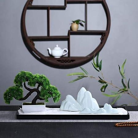 Hjyi Meditación Zen Garden,Jardin Zen China Adornos De Cerámica para Rocalla De Cerámica Zen Paisaje Seco Arte Decoración Salón Accesorios para El Salón: Amazon.es: Hogar