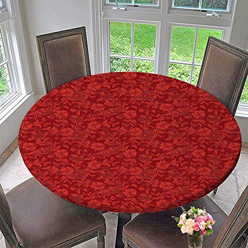 Mikihome Picnic Circle Table Cloths Details with Leaves Swirls Romantic Vivid Vibrant Pattern Art Print Burgundy and Red for Family Dinners or Gatherings 43.5