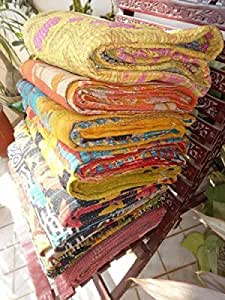 Indian Kantha Quilt Patch Work Cotton Vintage Twin Bedspreads Throw Blanket Made Rally Reversible Bedspread Throw Old Sari Made Assorted Patches Cotton Blanket Pure Cotton Indian Gudri (1 pies)