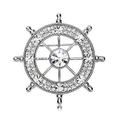 a4e226894 Brooches & Pins, Transer® 1pc Vintage Fashion Classics Navy Retro Rudder  Diamond Collar Pin