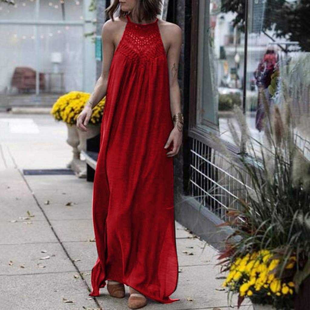 HITRAS The New Women's Sexy Halter Neck Dresses Cotton Hollow Loose Long Dress Red by HITRAS (Image #2)