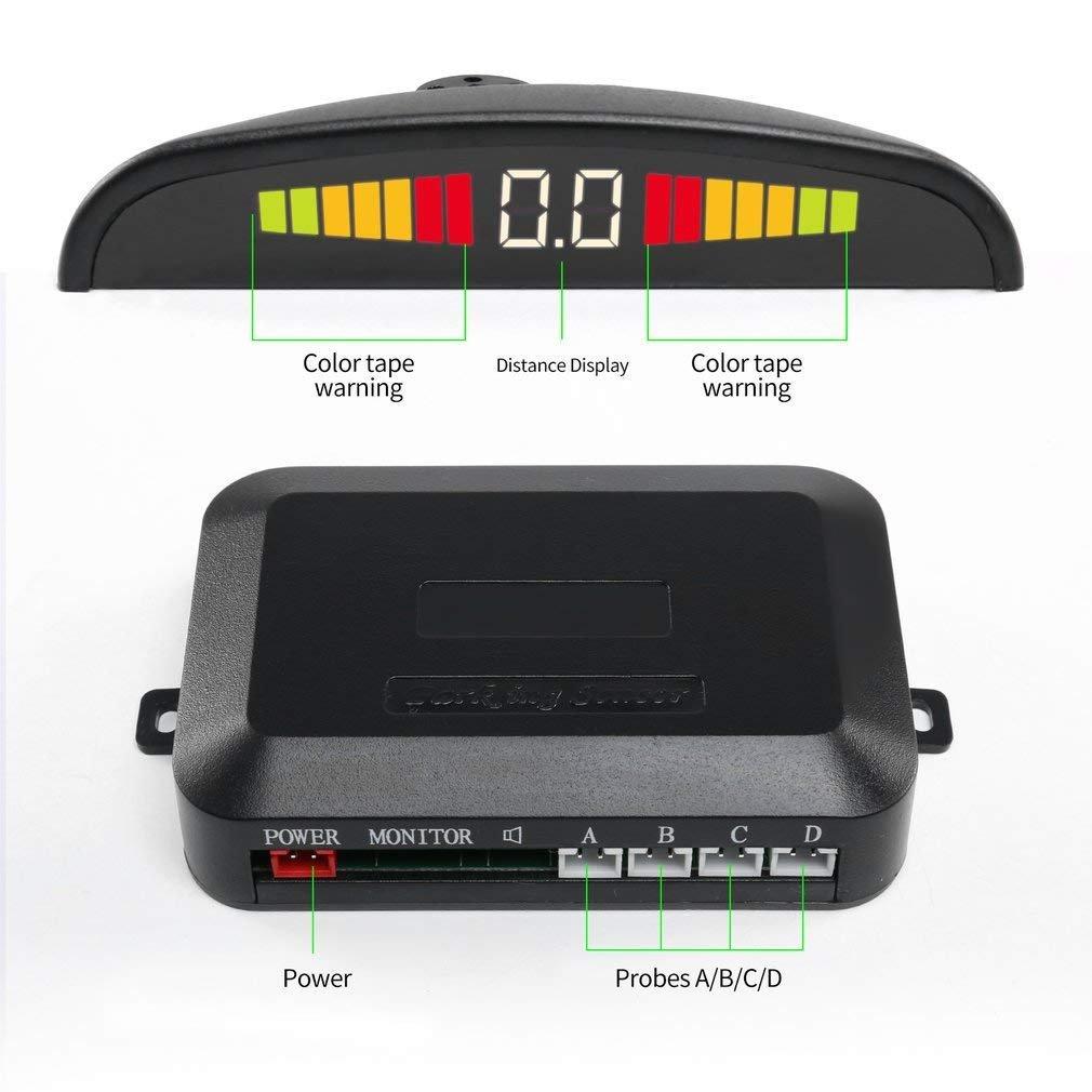 Backup Sensor,LESHP LED Display Car Vehicle Reverse Backup Radar System  with 4 Parking Sensors High-volume Warning Buzzer Controller Box for All  Cars