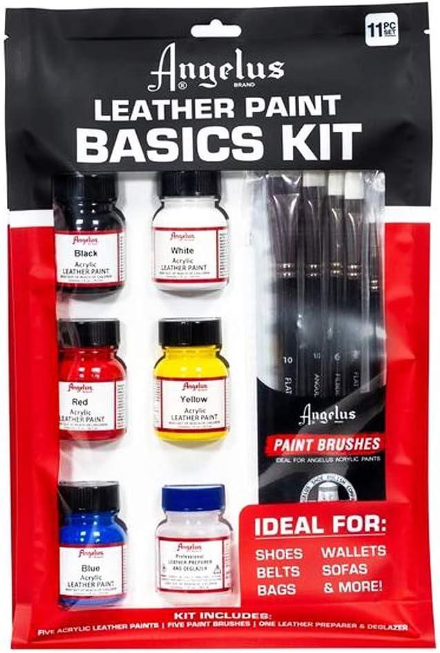 Angelus - Kit básico de colores primarios + pinceles para pintar sobre cuero