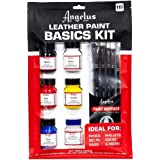 Angelus Leather Paint Basics Kit, Contains 1 Ounce Bottles of Black, White, Red, Blue, Yellow and Preparer, Plus a 5-Piece An