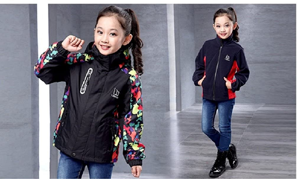 CHENX 2017 Children Boys Girls New Cute Liner Zipper Three in One Windbreaker Jackets Hooded Coat