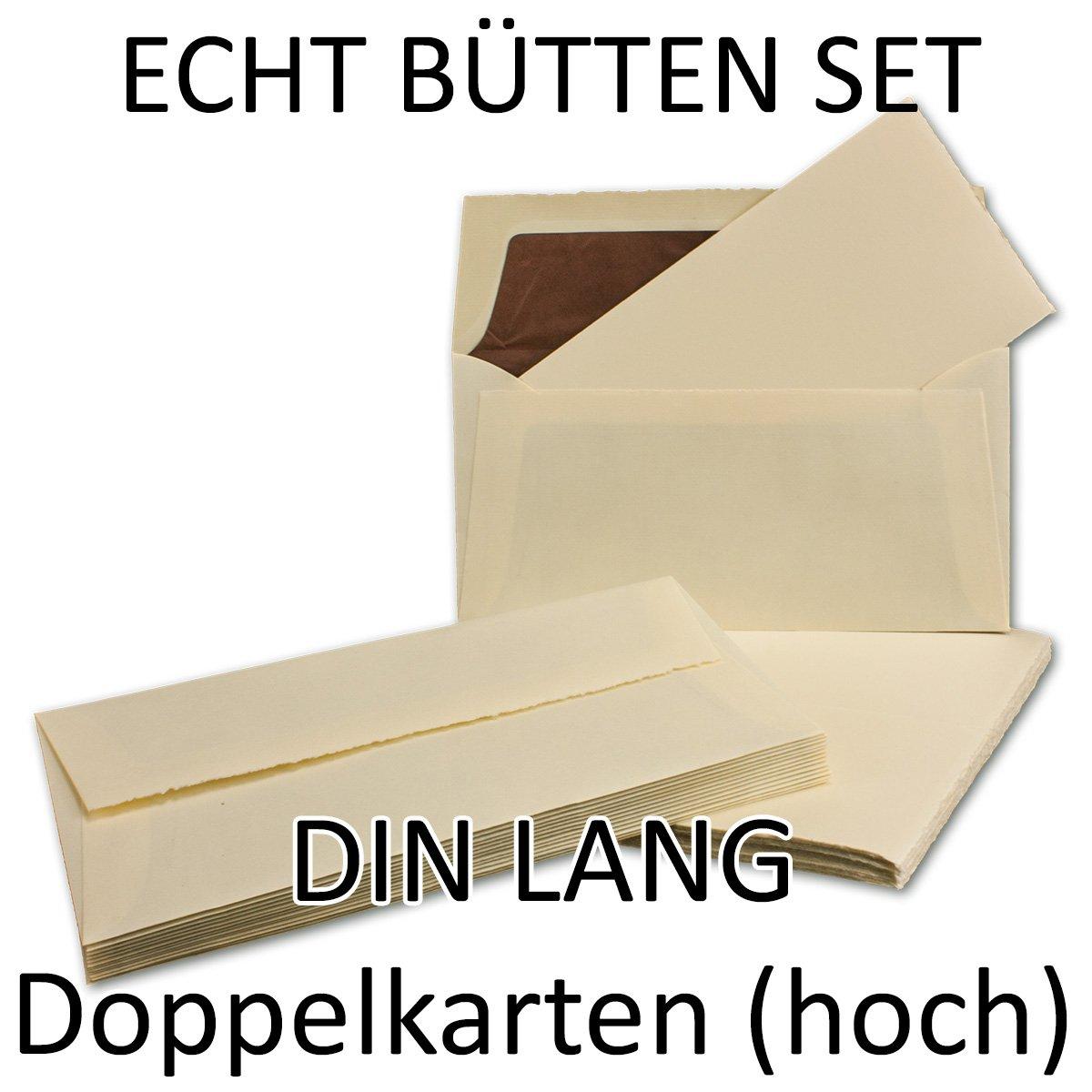 100-teiliges SET aus DIN LANG Doppelkarten (Hoch) & Umschläge, ECHTES BÜTTENPAPIER, 200 x 210 mm, Elfenbein halbmatt, ORIGINAL ZERKALL-BÜTTEN B00TYGGG3Q | Kostengünstig