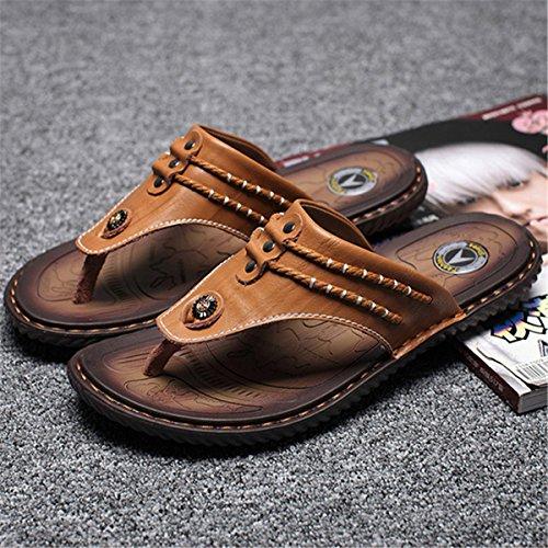 Hommes Couture Main Pantoufles De Plage Orteil Clip Doux Sandales En Cuir Imperméable 9yyzjEO