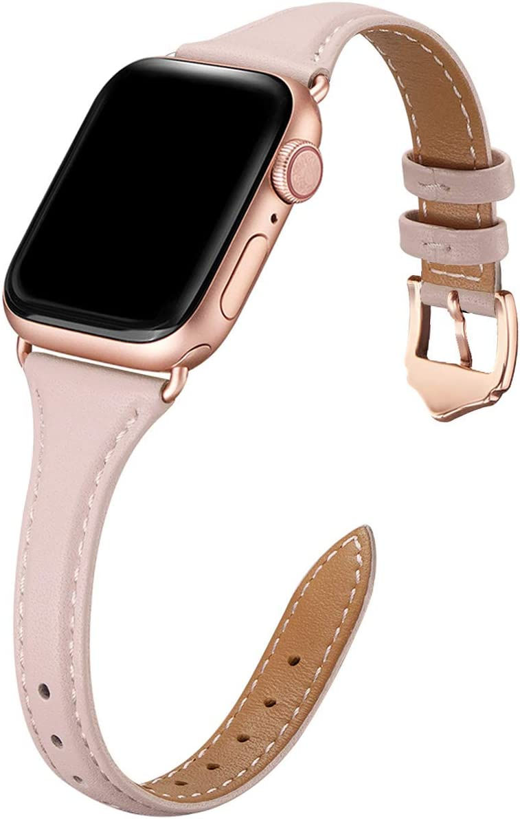 WFEAGL Leather Bands Compatible with Apple Watch 42mm 44mm Small & Middle Size, Top Grain Leather Band Slim & Thin Wristband for iWatch SE & Series 6/5/4/3/2/1(Pink Sand Band+Rose Gold Adapter)