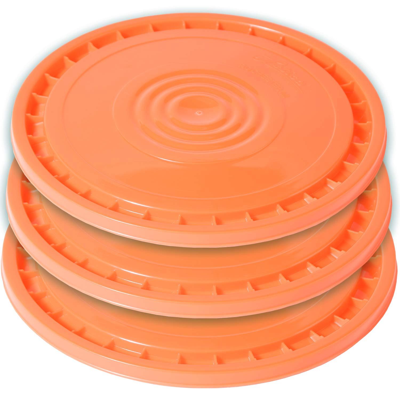 Meranti Reusable Easy Peel 3.5, 5, 6, and 7 Gallon Bucket Lid | Food Grade | 3 Pack (Orange)