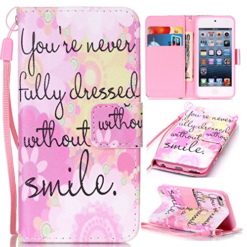 iPod Touch 6 Cases, iPod Touch 5 Wallet Case,Beimu [Card Slots] [Wristlet Strap] [Money Pocket] PU Leather Flip Wallet Case with ID&Credit Card Holder for iPod Touch 6th/5th Generation ()