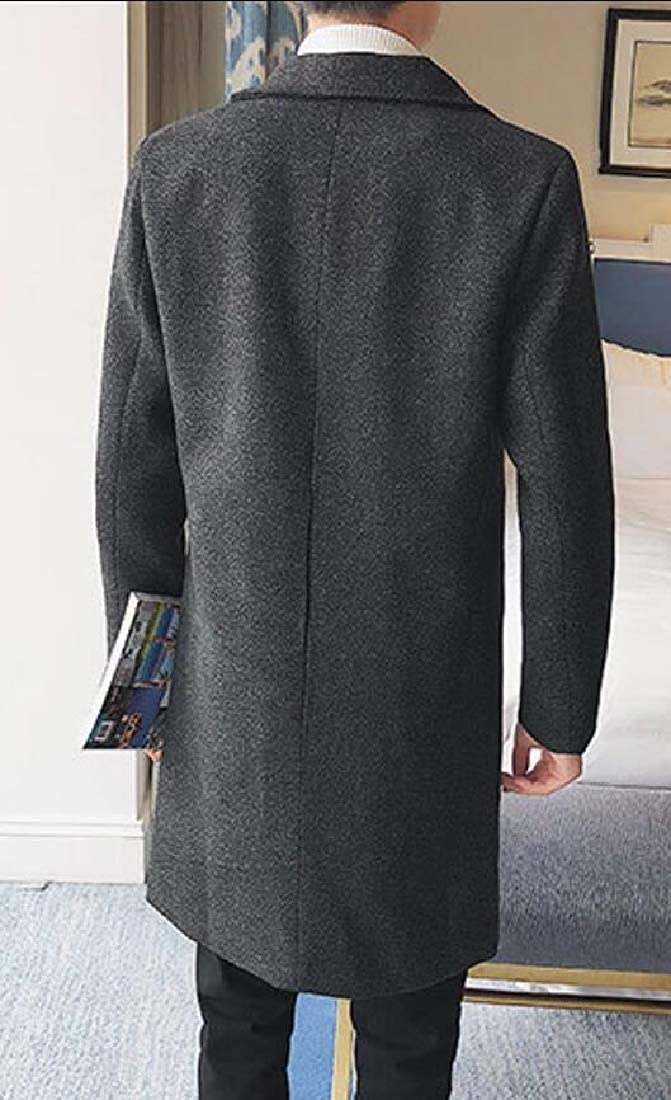 XQS Mens Trench Coat Slim Fit Jacket Single Breasted Business Coat