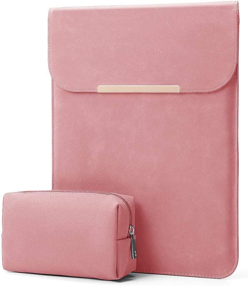 "KALIDI 13.3 inch Laptop Sleeve Case Faux Suede Leather for MacBook Air Pro Retina 2016-2020, for 13""-13.5"" Surface Pro 5 6 7 with Pouch (for 13.3 inches MacBook/Pro/Air, Pink)"