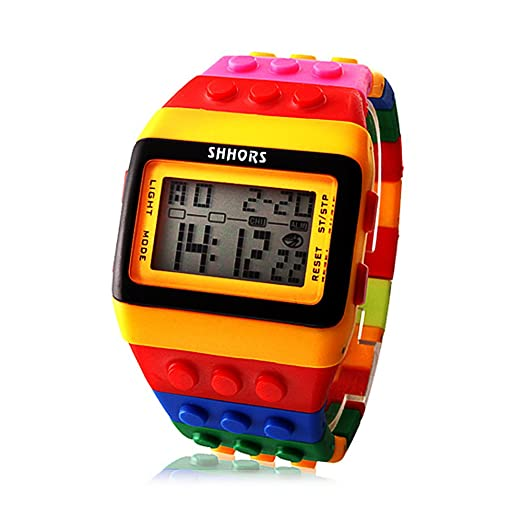 Rainbow LED Reloj de Moda Madera Reloj Digital Plastic Banda Caramelo Cool M¨²ltiples Colores