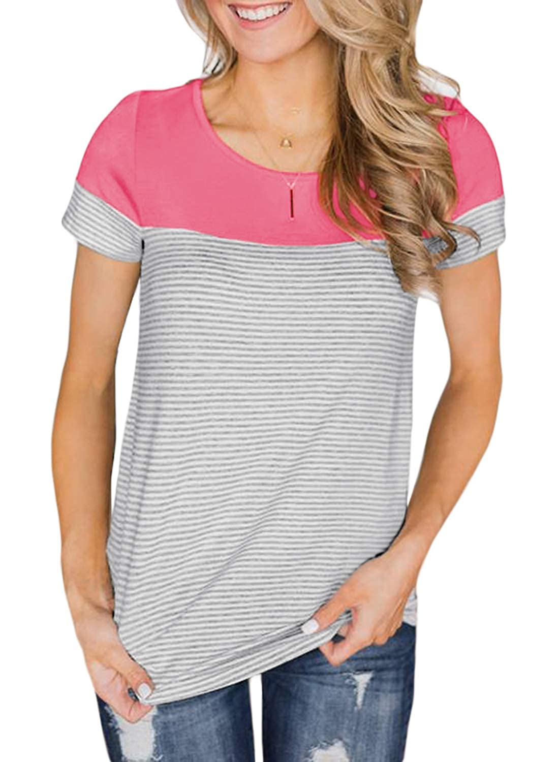 FIYOTE Womens Short Sleeve Striped T-Shirt Color Block Casual Blouse Tops