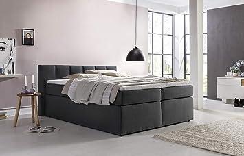 Furniture for Friends Boxspringbett Valina 160x200cm Anthrazit H2 inkl.  Lieferung ins Schlafzimmer & Visco-Topper, Taschenfederkern-Matratze, ideal  ...