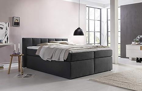 Furniture for Friends Boxspringbett Valina 180x200cm Anthrazit H2 inkl.  Lieferung ins Schlafzimmer & Visco-Topper, Taschenfederkern-Matratze, ideal  ...