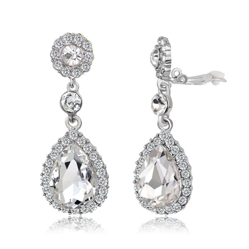 87ce5579e Gorgeous Austrian Cut Crystal Rhinestone Pierced Wedding Bridal Teardrop  Drop Dangle Earrings
