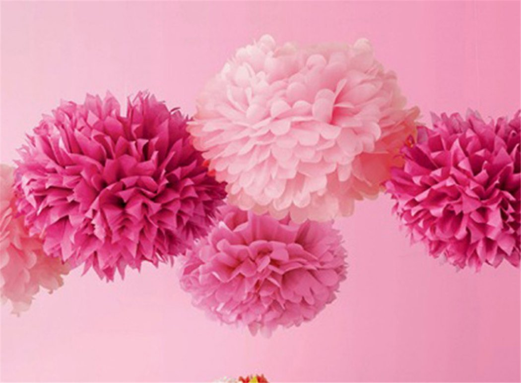 Amazon 9pcs Mixed 3 Sizes Pink Differernt Colors Pom Poms