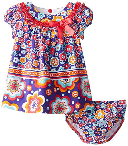 Twin Print Knit Dress (Baby Girls Purple/Multi Twin Floral Print Knit Trapeze Dress (12 Months, Purple))