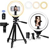 EICAUS 10'' Ring Light with Stand and Phone Holder, Cell Phone Tripod with Ringlight for Live Streaming/Makeup/Photography, Compatible with Phones and Cameras(Black)