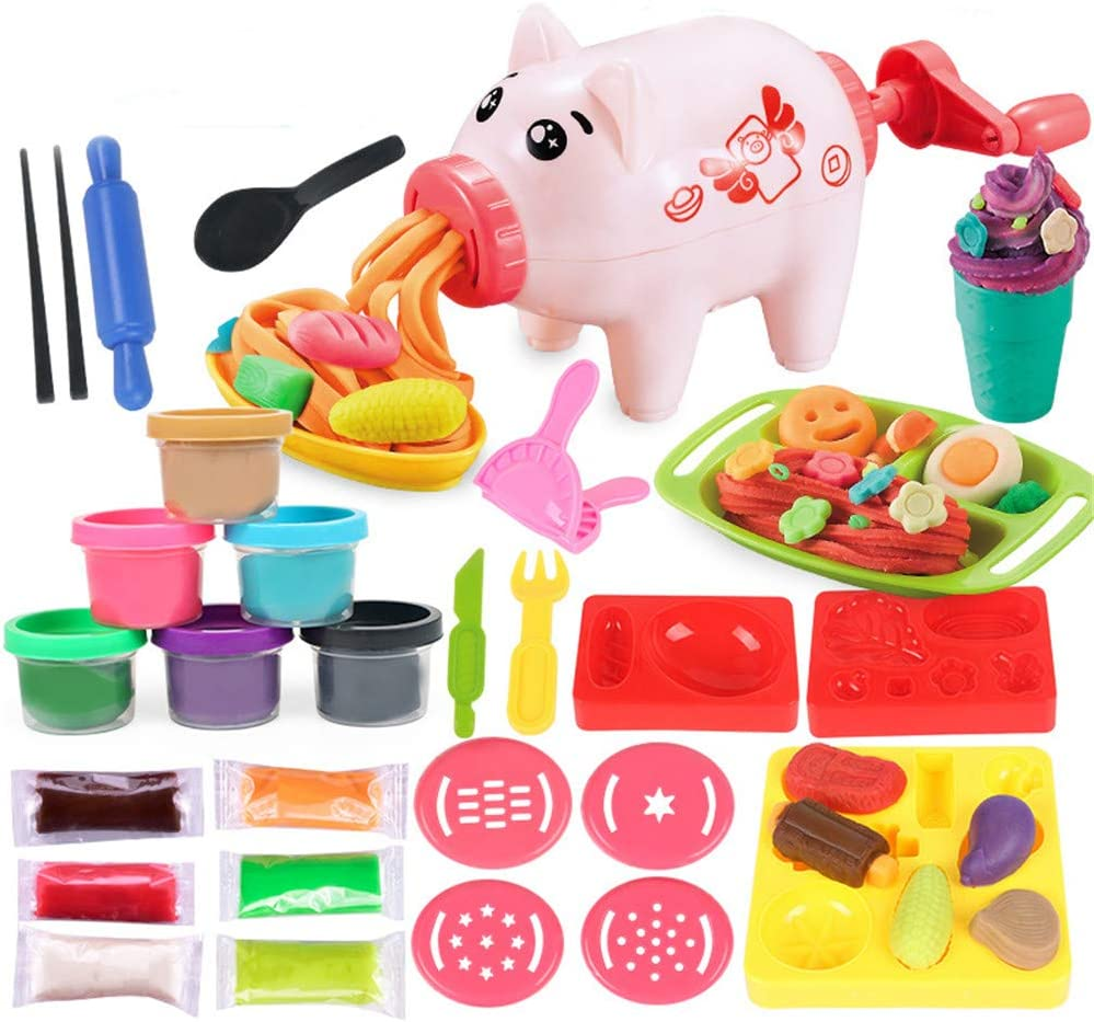 Anytec Kids' Art Clay Toy, DIY Pink Pig Noodle Making Machine Pasta Set Fun Colorful Mud Kitchen Toy Playsets