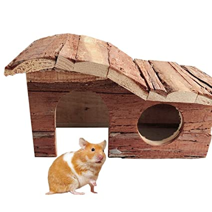Super Wooden Hamster House Natural Bark Rat Mouse Exercise Natural Funny Hamster Nest Toy Home Interior And Landscaping Ologienasavecom