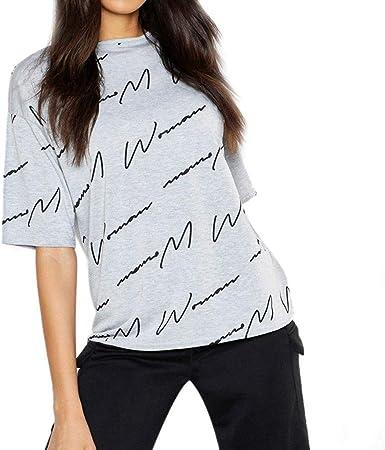 VEMOW Camisas de Mujer Tops Blusas Manga Corta con Cuello Redondo y Camiseta para Mujer Camisetas: Amazon.es: Ropa y accesorios
