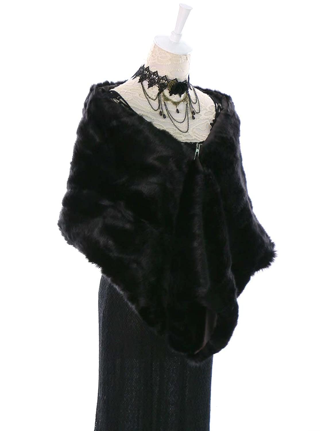 Victorian Wraps, Capes, Shawl, Capelets Shawls and Wraps Bridal Fur Stoles and Scarves for Women $24.66 AT vintagedancer.com