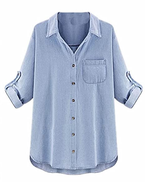 9a8752c8 Image Unavailable. Image not available for. Color: KXP Womens Loose Denim  Button Down Lapel Shirts Light Blue XXL