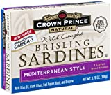 Crown Prince Natural One Layer Brisling Sardines - Mediterranean Style, 3.75-Ounce Can