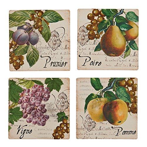 Boston Warehouse Antique Botanical Fruit Coasters, Set of 4