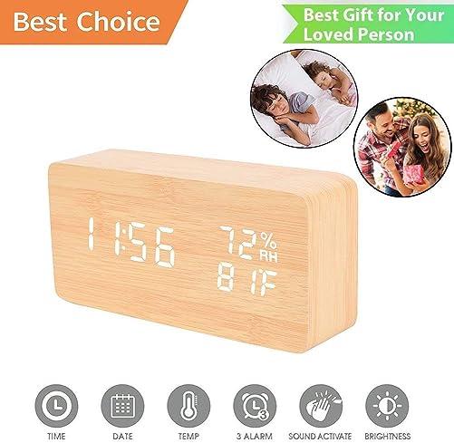 2013Newestseller Wood Alarm Clock, Digital Alarm Clock Temperature Date LED Display Wood Grain Clock Wood