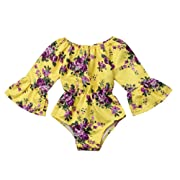 Floral Newborn Kid Baby Girl Infant Romper Jumpsuit Bodysuit Clothes Outfit 0-24 M (6-12 Months, Yellow 2)