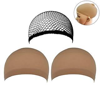 Frcolor Parrucca Cappelli con neutro Nude Beige e nero maglia confezione da 3
