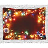 Ambesonne Christmas Decorations Collection, Fairy Lights Image on Wooden Rustic Pine with Xmas Ornaments and Candy Lollies, Bedroom Living Room Dorm Wall Hanging Tapestry, 60 X 40 Inches, Multi Color