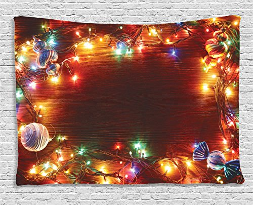 Wall Tapestry Rustic Decor by Ambesonne, Christmas Fairy Lights  on Wooden